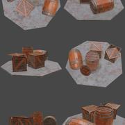 Старая коробка и бочка 3d model