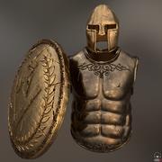 ensemble de guerrier grec armure 3d model