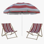 plaj şezlong ve şemsiye 3d model