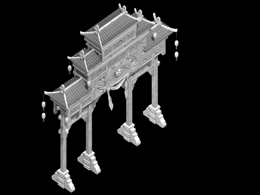 Beijing City Architecture - Archway royalty-free 3d model - Preview no. 3