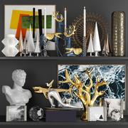 Zestaw dekoracyjny rzeźbiarza i elementów dekoracyjnych 3d model