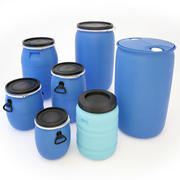 Plastic Barrels Set 3d model