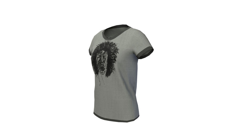 Gra Lowpoly Female Graphic T-Shirt z wieloma kolorami royalty-free 3d model - Preview no. 4