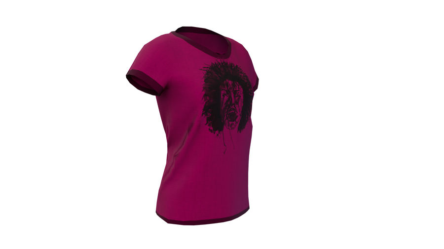 Gra Lowpoly Female Graphic T-Shirt z wieloma kolorami royalty-free 3d model - Preview no. 14