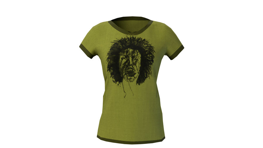 Gra Lowpoly Female Graphic T-Shirt z wieloma kolorami royalty-free 3d model - Preview no. 27