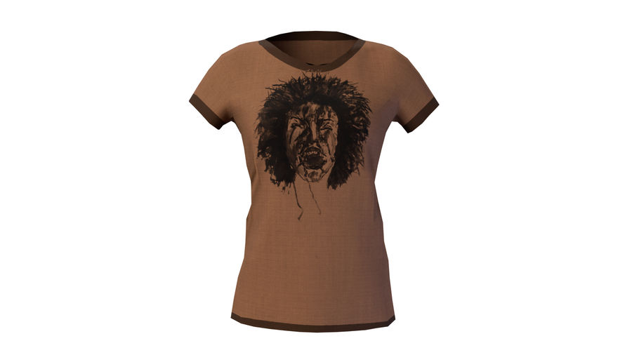 Gra Lowpoly Female Graphic T-Shirt z wieloma kolorami royalty-free 3d model - Preview no. 9