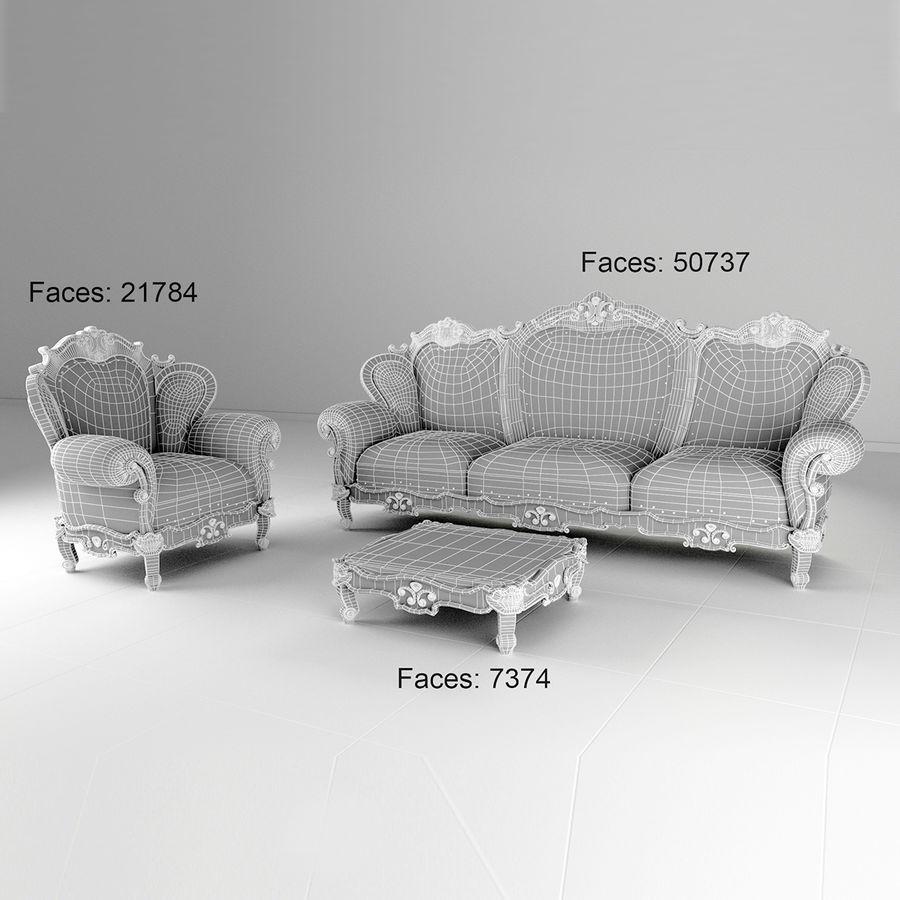 комплект мебели диван, кресло royalty-free 3d model - Preview no. 5