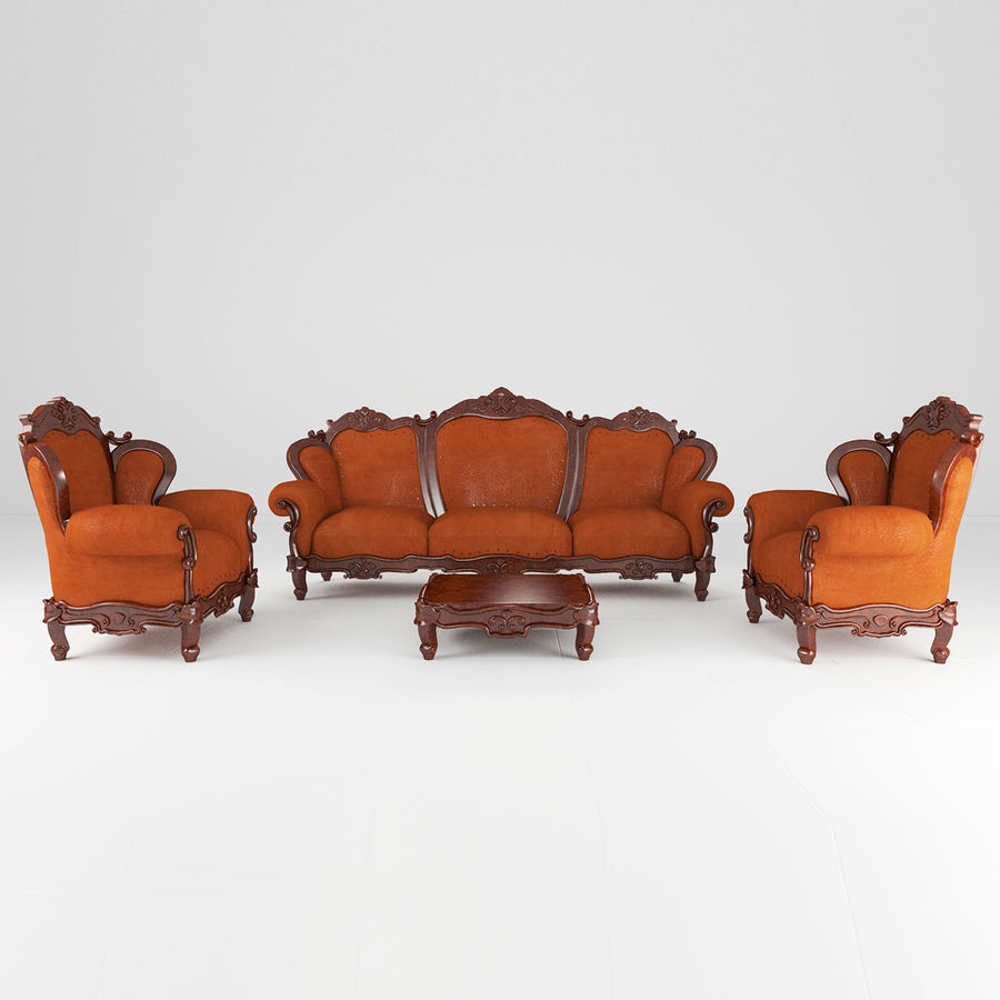 комплект мебели диван, кресло royalty-free 3d model - Preview no. 3