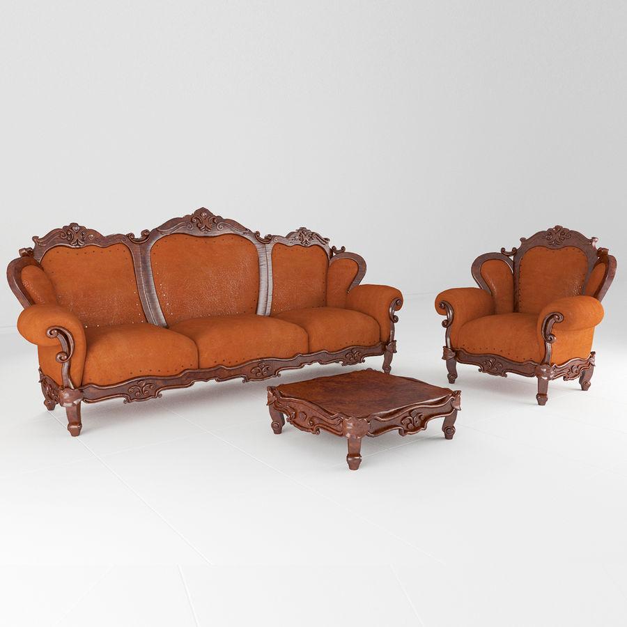 комплект мебели диван, кресло royalty-free 3d model - Preview no. 2