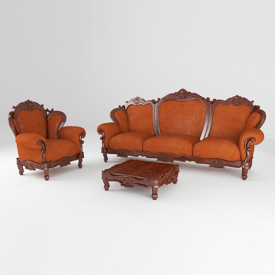 комплект мебели диван, кресло royalty-free 3d model - Preview no. 1