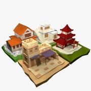 Forntida tecknade hus med låg poly 3d model