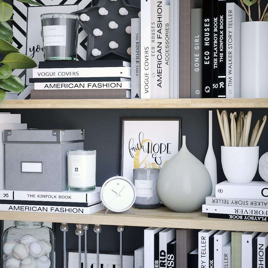 Books shelves decor set royalty-free 3d model - Preview no. 3