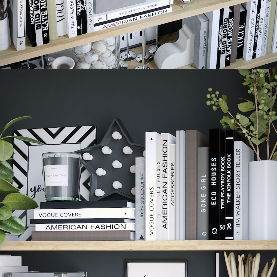 Books shelves decor set royalty-free 3d model - Preview no. 5