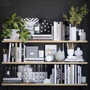 Books shelves decor set 3d model