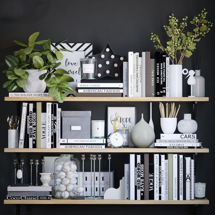 Books shelves decor set royalty-free 3d model - Preview no. 1