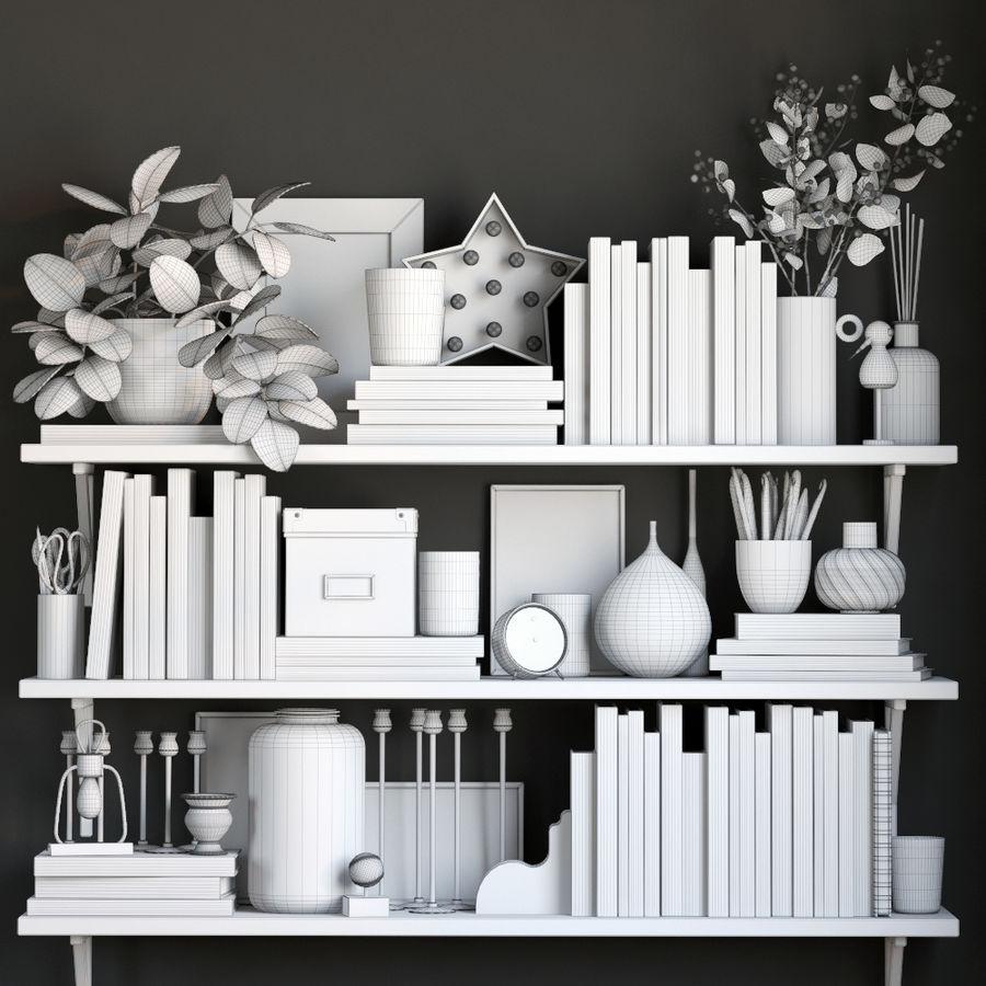 Books shelves decor set royalty-free 3d model - Preview no. 4