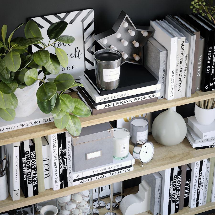 Books shelves decor set royalty-free 3d model - Preview no. 2