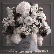 Blumenstrauß weiß von Blumen in einer Geschenkbox 3d model