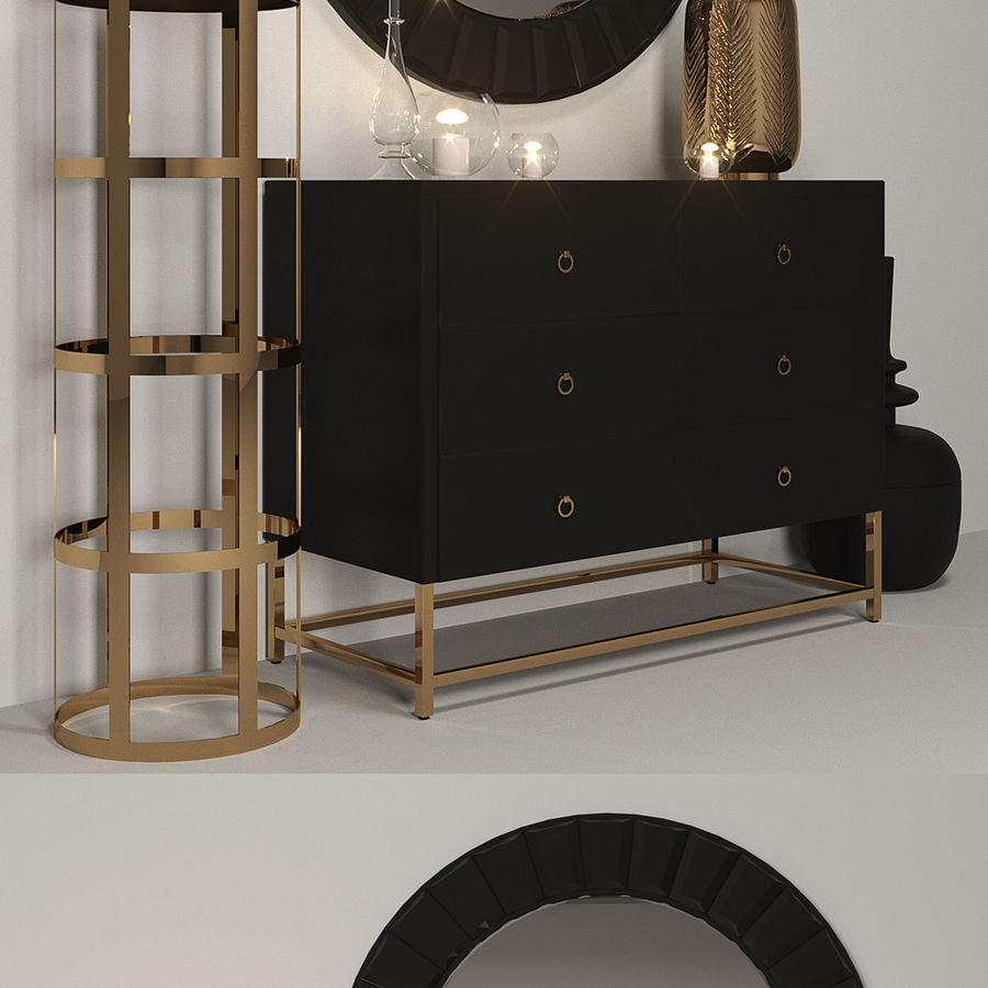 Gold Set Einrichtung royalty-free 3d model - Preview no. 2