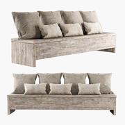 Panca in legno con cuscini 3d model