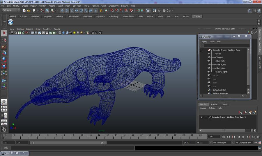 Komodo Dragon Walking Pose 3D Model royalty-free 3d model - Preview no. 15