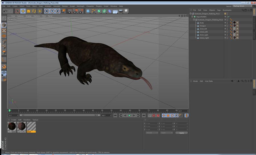 Komodo Dragon Walking Pose 3D Model royalty-free 3d model - Preview no. 16