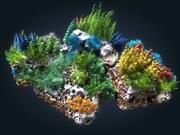 Ecosistema de arrecifes de coral animado modelo 3d