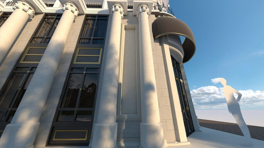 Neoclassic Architecture (Commercial Building) royalty-free 3d model - Preview no. 1