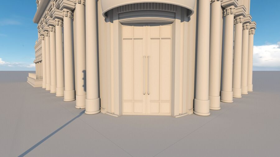Neoclassic Architecture (Commercial Building) royalty-free 3d model - Preview no. 14