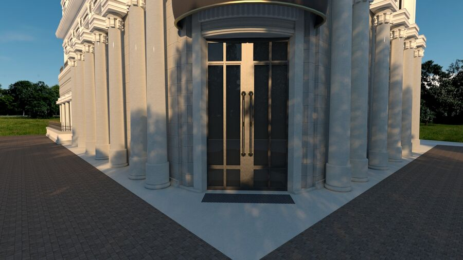 Neoclassic Architecture (Commercial Building) royalty-free 3d model - Preview no. 7