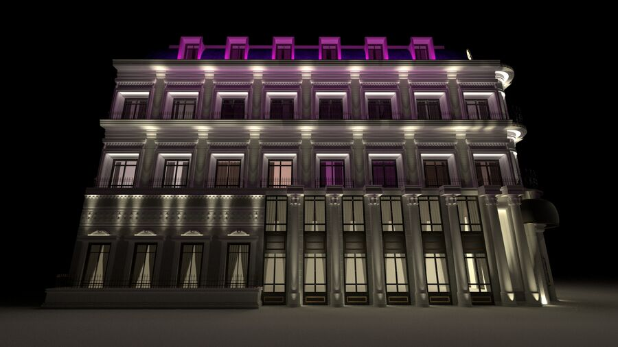 Neoclassic Architecture (Commercial Building) royalty-free 3d model - Preview no. 4