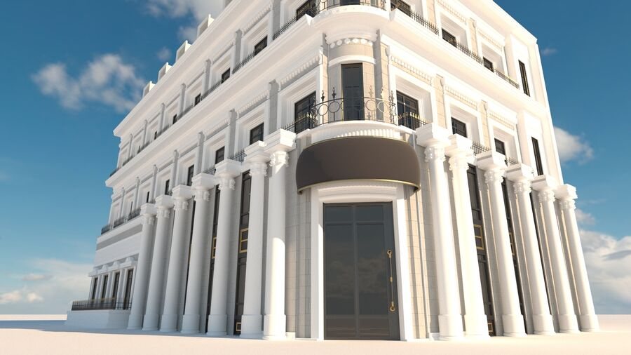 Neoclassic Architecture (Commercial Building) royalty-free 3d model - Preview no. 2