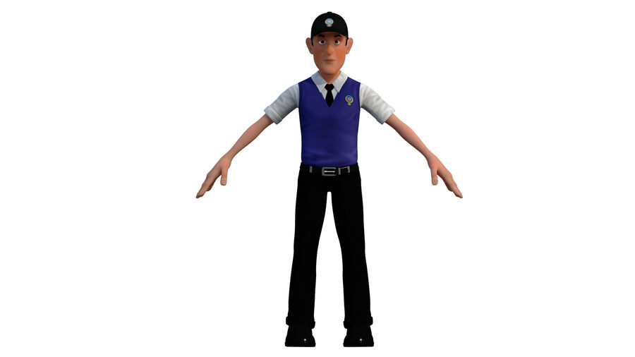 polis karaktär royalty-free 3d model - Preview no. 4
