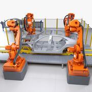 Car Body Svetsning Robotics Cell 3d model