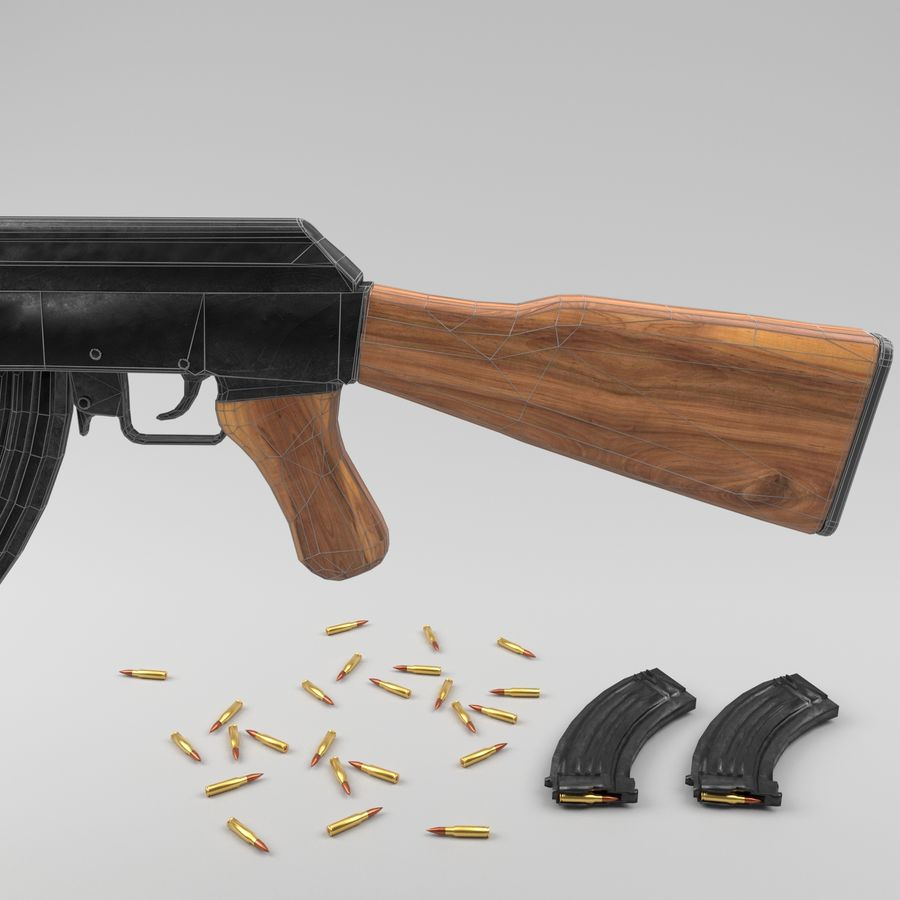 Ak-47 royalty-free 3d model - Preview no. 16
