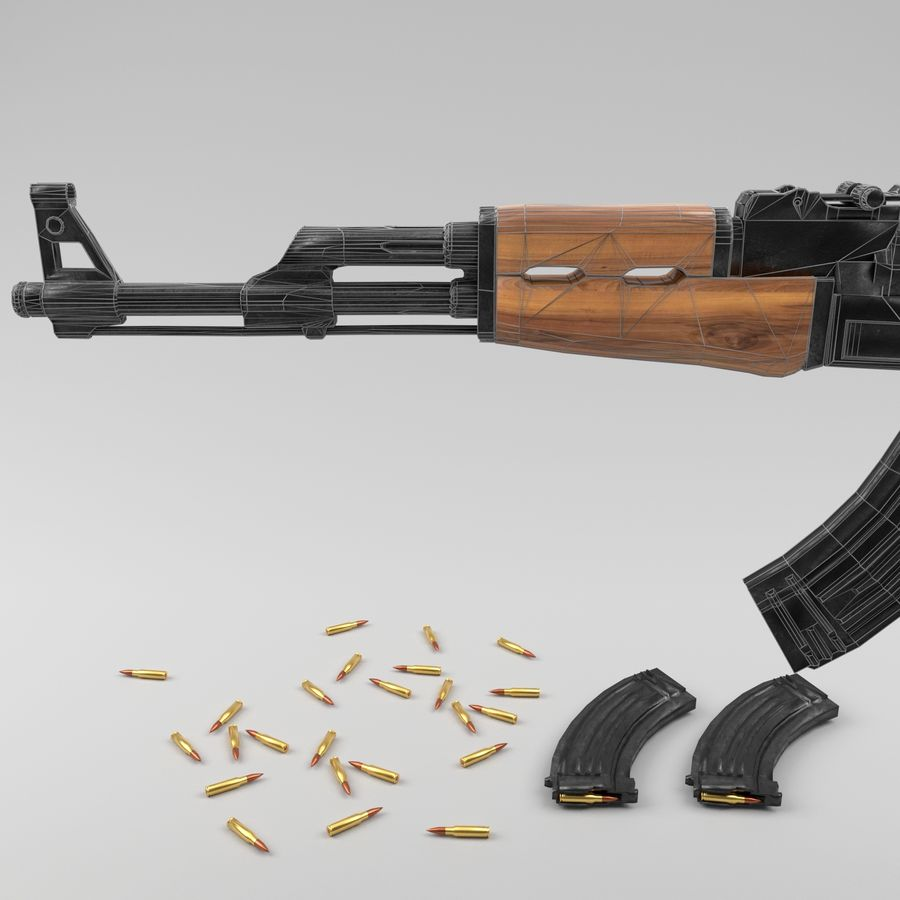 Ak-47 royalty-free 3d model - Preview no. 17
