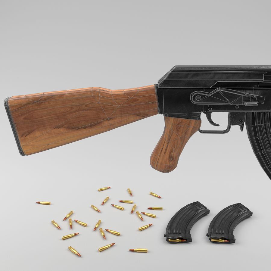 Ak-47 royalty-free 3d model - Preview no. 14