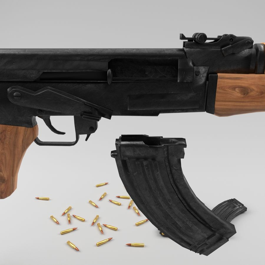 Ak-47 royalty-free 3d model - Preview no. 11