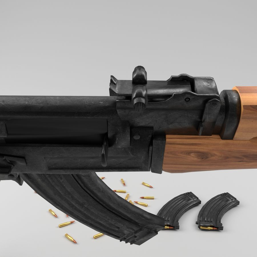 Ak-47 royalty-free 3d model - Preview no. 9