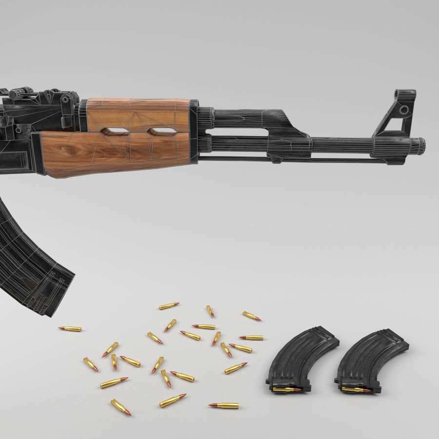 Ak-47 royalty-free 3d model - Preview no. 15