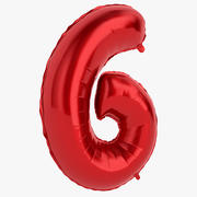 Foil Balloon Digit Six Red 3d model