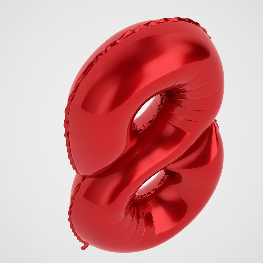 Folienballon Ziffer Acht Rot royalty-free 3d model - Preview no. 7
