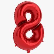 Folyo Balon Hane Sekiz Kırmızı 3d model