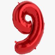 Balon foliowy Dziewięć czerwony 3d model