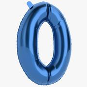 Balon foliowy Zero niebieski 3d model