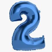 Balon foliowy Cyfra Two Blue 3d model
