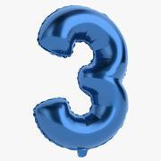 Balon foliowy cyfra trzy niebieski 3d model