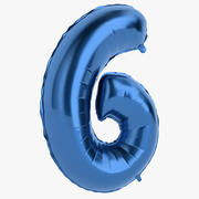 Foil Balloon Digit Six Blue 3d model