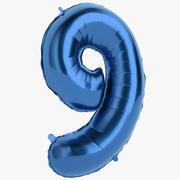 Balon foliowy Cyfra Dziewięć niebieskich 3d model