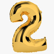 Foil Balloon Digit Two Gold modelo 3d